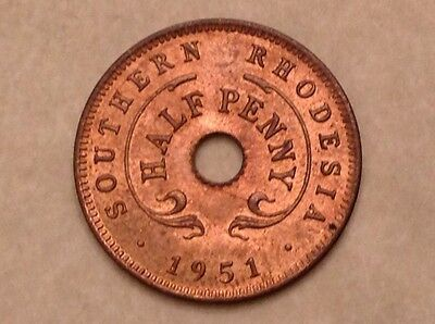 1951 Southern Rhodesia George VI 1/2 Half Penny Red Uncirculated