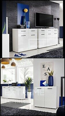 Sideboard High Gloss Chest of Drawers 4 SIZE options with doors and drawer PANDA