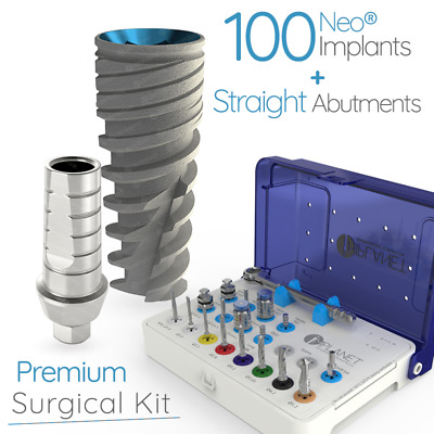 100 NEO® Spiral Dental Implants+ Straight Abutments+ 1 Surgical Kit for Implant
