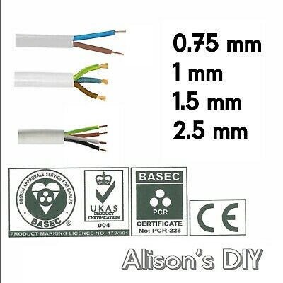 2 3 4 Core Round White Flex cable 0.75 1 1.5 2.5mm Flexible PCV Extension Wiring