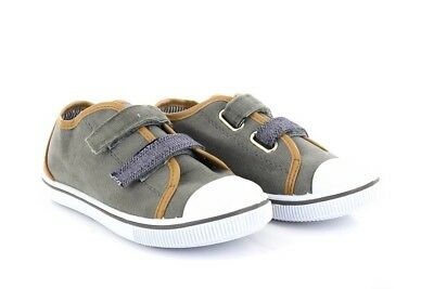 Boys Aaron Low Top Khaki Grey Denim Summer Canvas Trainers Twin Touch Fastening