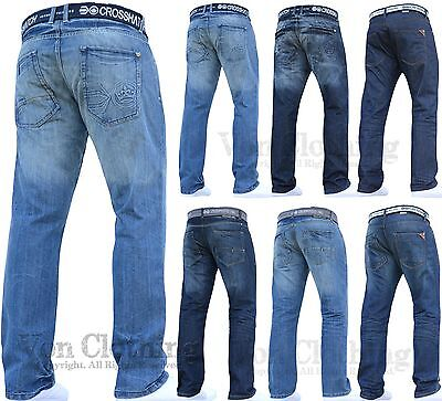 New Mens Boys Crosshatch Jeans Pants Dark Blue Designer Branded All Waist Sizes