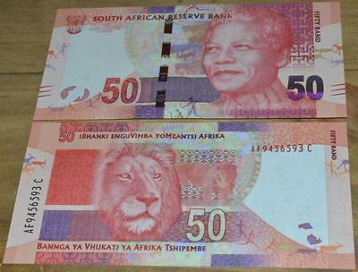 South Africa Fifty Rand Mandela banknote lot 4 UNC notes in sequence