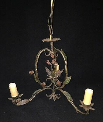 Antique French Painted Metal Chandelier Of Roses And  Petals
