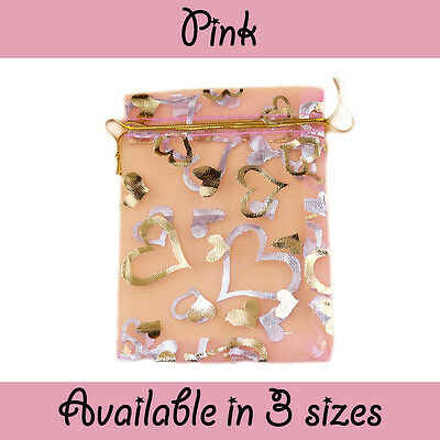 Pink Organza Heart Pouch Wedding Favour Bag Jewellery Pouch 7 sizes