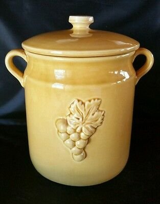 """Ceramiche Virginia 9"""" Yellow Cookie Jar Canister w/ Grape Leaf Vine Italy"""