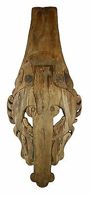 "Antique 48"" Asian Indonesia Hand Carved Wooden Batek Mask Religious Wall Decor"