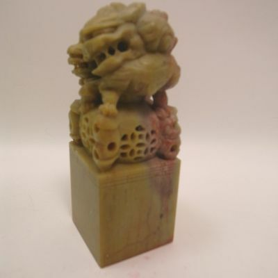 Antique Chinese finely carved soapstone seal with lion 19th cent. 11cm