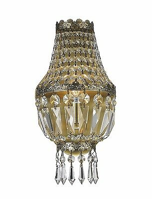 "1-Light Antique Bronze Finish 6"" x 12"" Frigg Crystal Wall Sconce Light"