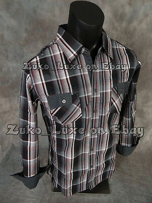 """Mens WESTERN STYLE Button-Up Shirt Black Night Shaded Plaid Patterns  """"Slim Fit"""""""
