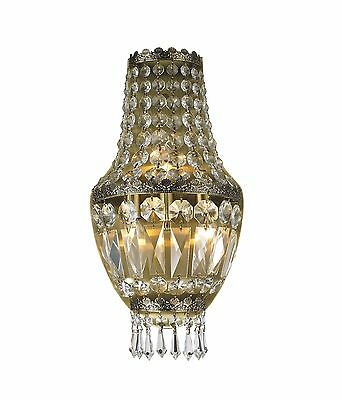 "3-Light Antique Bronze Finish D 8"" H 16"" Frigg Crystal Wall Sconce Light"