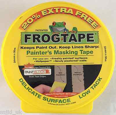 FrogTape Delicate Surface Masking Tape - Yellow - 24mm x 50m + 20% FREE