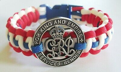 Ww1 Centenary Paracord Wristband - Poppy Or For King And Empire Badge