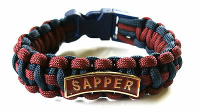 Royal Engineers Sapper Paracord Wristband With Badges