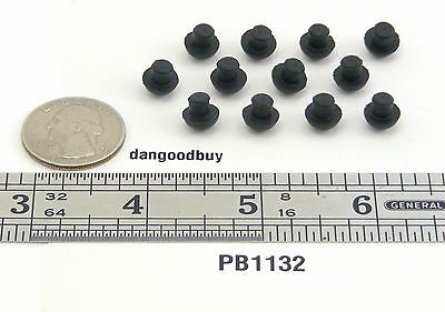 "100  Small Hard Rubber Push-In Mushroom Bumpers – ""Rubber Feet"" 11/32"" Diam"