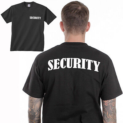 SECURITY T-SHIRT event bouncer party staff Black printed uniform FRONT & BACK