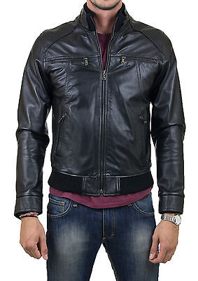 ★Giacca Giubbotto Uomo in di PELLE 100/% Men Leather Jacket Veste Homme Cuir Q34