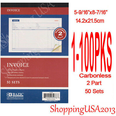 1-100 Invoice Book Receipt Sales Order Cash Rent 50 Sets 2 Part Duplicate**