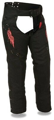 Women's Motorcycle Motorbike Textile Chap W/ Red Embroidery Reflective Black New