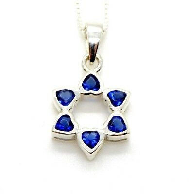 Star of David Pendant Sterling silver with Heart Blue CZ STONES NECKLACE