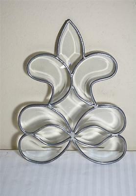 Clear Beveled Leaded Stained Glass  Fleur-de-Lis Insert Door Window Secrtion