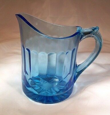 U.S. GLASS CO. AUNT POLLY BLUE CREAMER or CREAM PITCHER!
