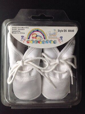 Baby Baptism Shoes 0-6 mo White Satin Lace Embroidered BABY NIB