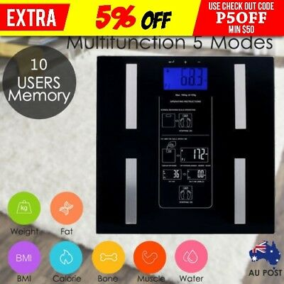 Digital Body Fat Scale Bathroom Weight LCD Display Muscle Water Electronic AU