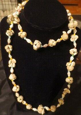 "Long Sea Shell Necklace Sea Shell Cluster  20"" Vintage"