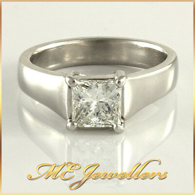 18k White Gold Bold Solitaire Engagement Ring Square Princess Cut Diamond 1.0ct