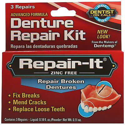 Broken Denture Repair Kit 3pk Fix Tooth Breaks Mend Cracks Emergency Oral Care