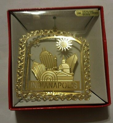 INDIANAPOLIS INDIANA Brass Christmas Ornament 24K Gold Finish NATION'S TREASURES