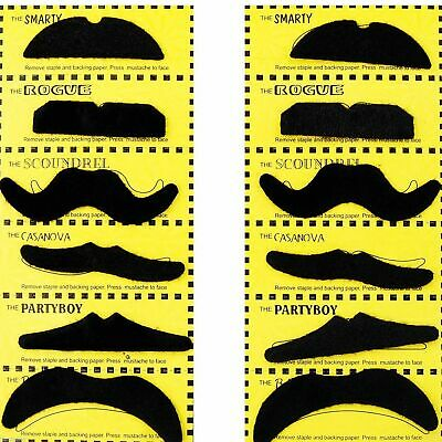 6 Or 12 Pack Of Self adhesive Assorted Fake Moustache Set Fancy Dress