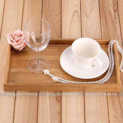 Rectangle BAMBOO Serving Tray Tea Coffee Table Wooden Breakfast in Bed Gift