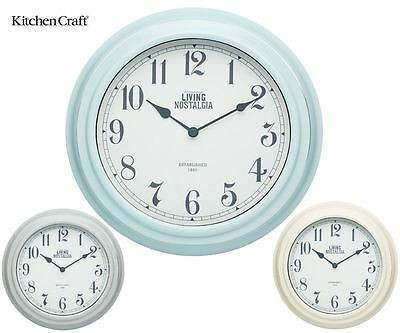 Kitchen Craft Living Nostalgia Wall Clocks in Cream, Blue or Grey