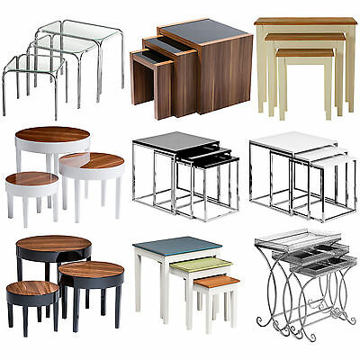 9 Assorted Nest Of 3 Tables Coffee Side Occasional Wooden Glass Lounge Furniture