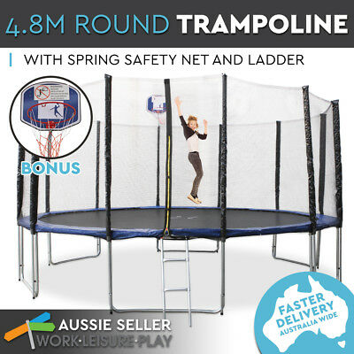 4.8m 16ft Trampoline Round Free Basketball Safety Net Spring Pad Cover Ladder