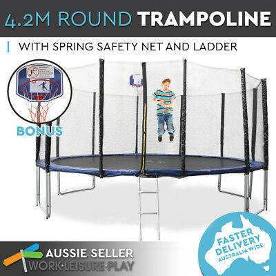 4.2m 14ft Trampoline Round Free Basketball Safety Net Spring Pad Cover Ladder Ki