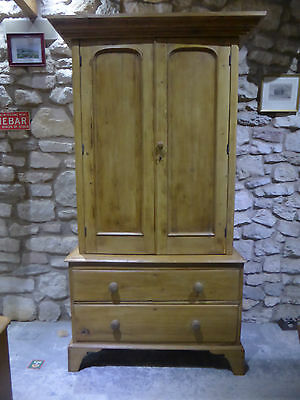 Victorian Pine Cupboard + Drawers with Lock + Key