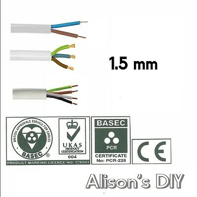 1.5mm Round White Flex cable 2 3 4 Core Flexible PCV Extension Wiring
