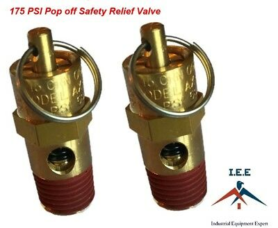"1/4"" NPT 175 PSI Air Compressor Safety Relief Pressure Valve, Tank Pop Off 2pc"