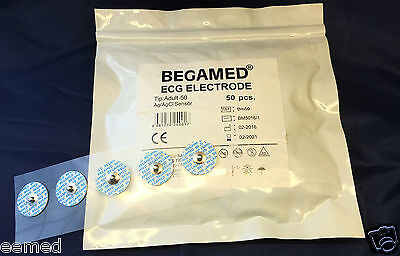 BEGAMED ECG Electrodes -2 Size- Pack Of 50 UK STOCK  CE CERTIFICATED & ECONOMIC
