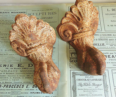 Superb Pair Antique French Cast Iron Claw And Ball Feet Architectural Elements
