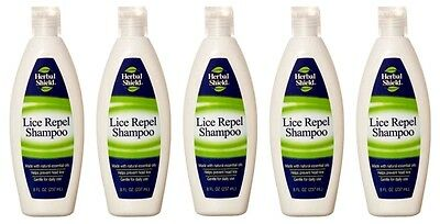 Lot of 5 Herbal Shield Lice Repel Shampoo With Natural Essential Oils 8 Oz Each