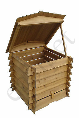 Wooden Compost Bin 328L BeeHive Style Composter Recycle Garden and Kitchen Waste