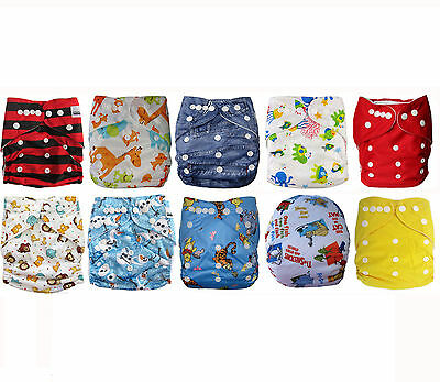 Modern Cloth Nappies MCN Bulk 10 Pack fun prints with microfiber inserts neutral