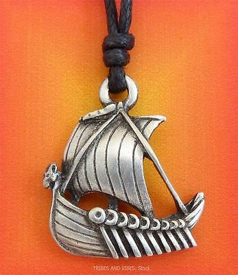 Viking Long Ship Boat Pendant Necklace pagan norse pewter Jewellery 30mm