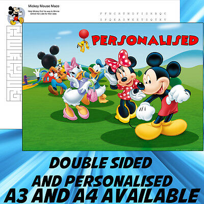 Childrens Mickey Mouse Dinner Mat A4 / A3 sizes available Place Mat