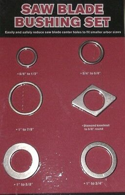 New 12 PC Saw Blade Bushing Set Change Saws & Blades to 6 Different Arbor Sizes