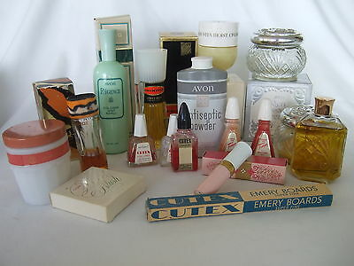 Vintage 17 pc toiletry lot 1950s-80s - Avon, Lady Esther, Cutex, Tangee, Tigress